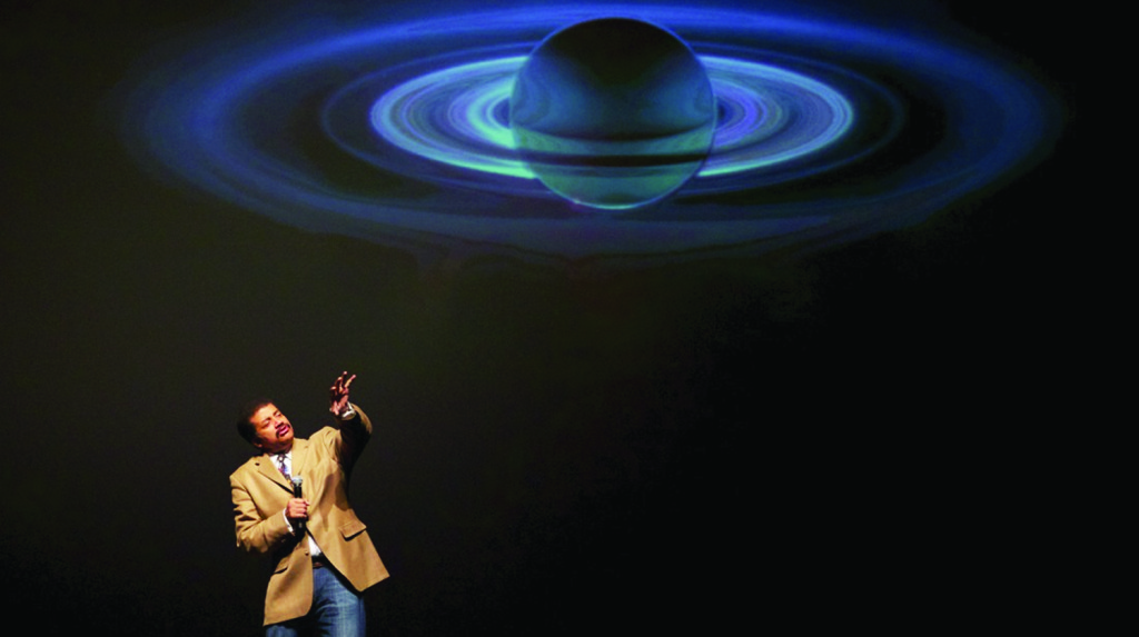 Neil DeGrasse Tyson gives a lecture as part of an Arts & Lectures event