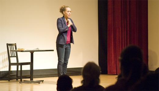 """Award-winning actress and playwright Fanshen Cox DiGiovanni performing her one-woman play, """"One Drop of Love: A Daughter's Search for Her Father's Racial Approval"""" at the MCC. Daily Nexus file pho"""