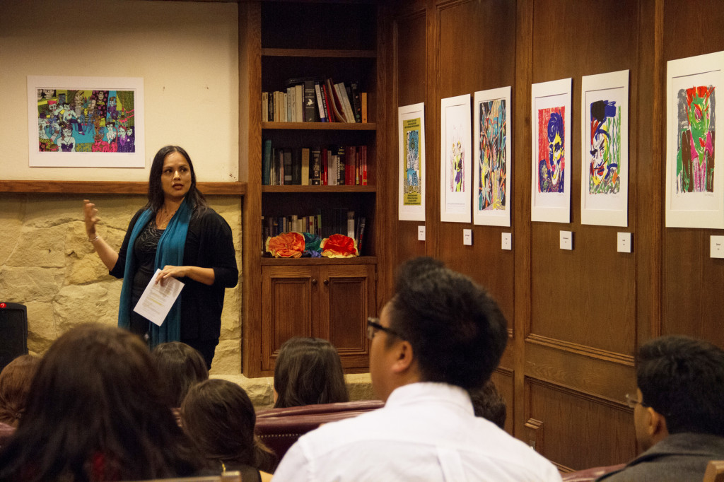 """A show featuring the work of L.A.-based Diane Gamboa (on loan from Davidson Library's CEMA), """"Art & Altered States"""" opened last Sunday at the San Miguel Residence Hall. About 50 attendees enjoyed the 12 prints on display and a talk by Cristina Serna of the Chicano Studies Department. The show closes tonight after a final reception."""