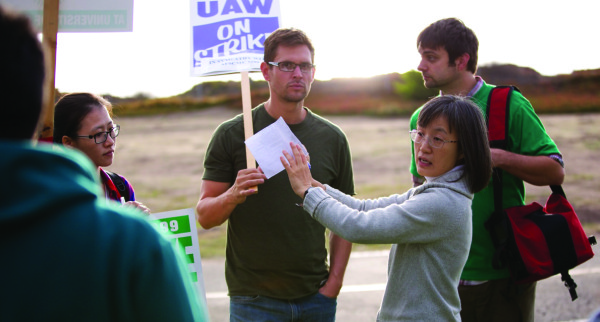 Graduate students hold a sympathy strike with AFSCME during last quarter's strike.