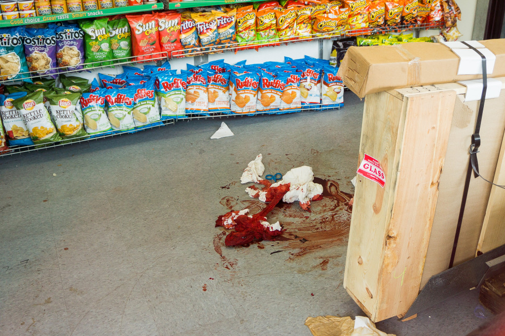 Blood spattered across the floor of IV Deli Mart. The store had recently relocated to a new space at the beginning of April. (John Clow / Daily Nexus)
