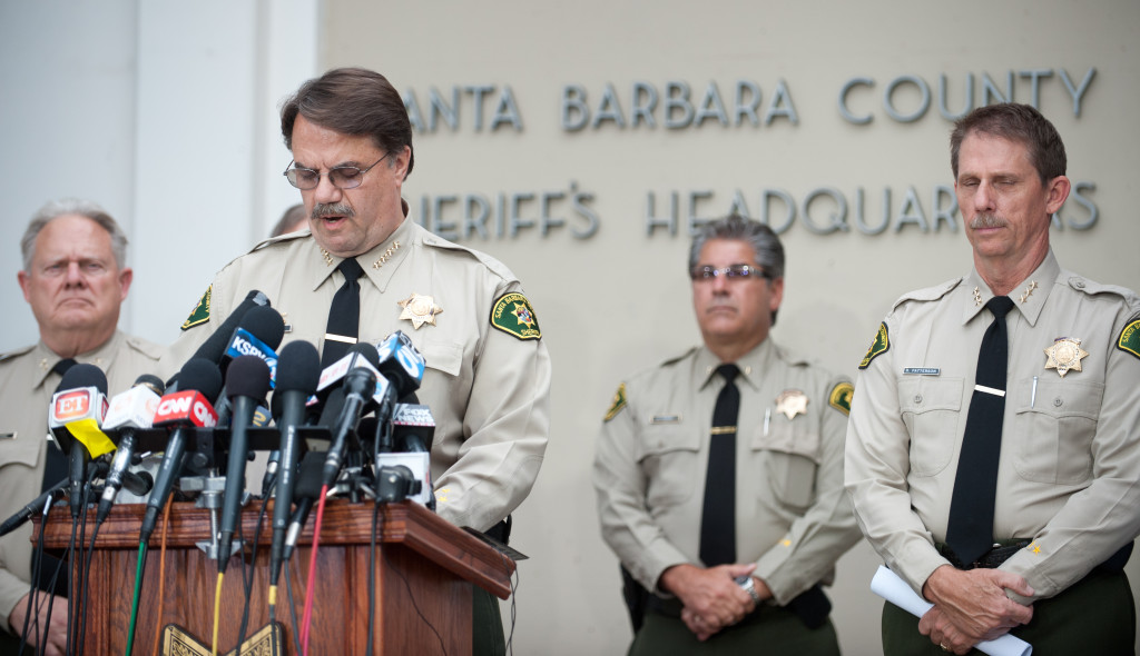 Santa Barbar County Sheriff Bill Brown at Saturday's press conference. (Kenneth Song / Daily Nexus)