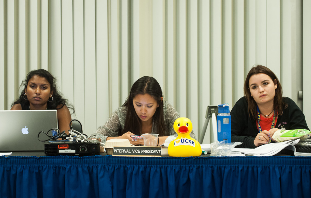 Associated Students Internal Vice President Angela Lau, center, and two Senators at the first meeting Wednesday night. The Senate spoke with UCPD Chief Dustin Olson about increased police patrols on the weekends and the role of police in I.V., among other topics. Kenneth Song/Daily Nexus