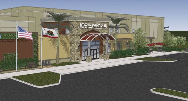 """An artist's conceptualization of the finished """"Ice in Paradise"""" facility, which broke ground Thursday, Nov. 20 and is scheduled to open in 2015."""