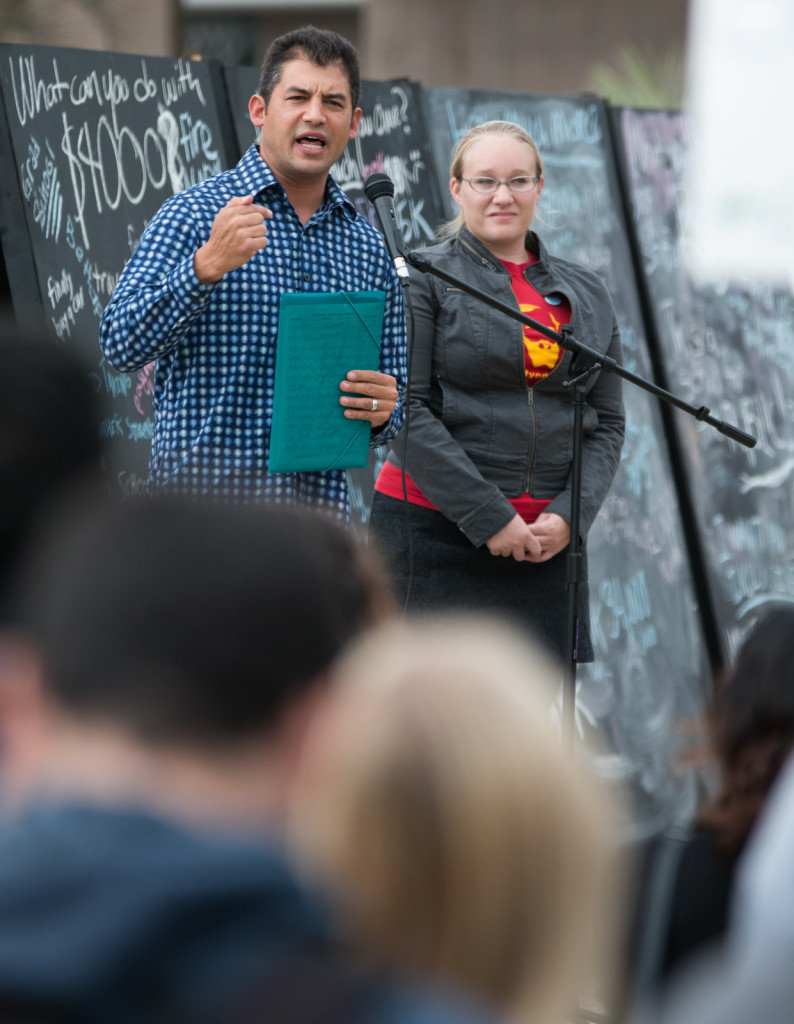 37th District California State Assemblymember Das Williams speaks at Thursday's rally in Storke Plaza while UCSB Campus Chair of the UC Student-Workers Union UAW Local 2865 Aviva Milner-Brage looks on. Stephen Manga/Daily Nexus