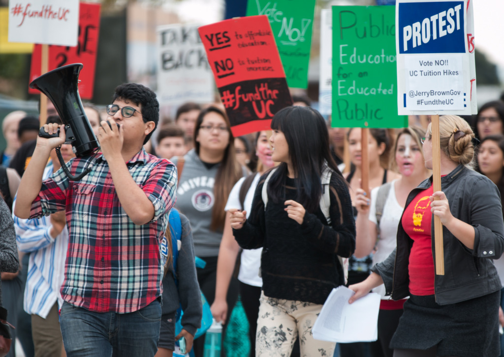 Students and community members protest in Storke Plaza Thursday at a rally against the recently-approved UC tuition plan. Stephen Manga/Daily Nexus