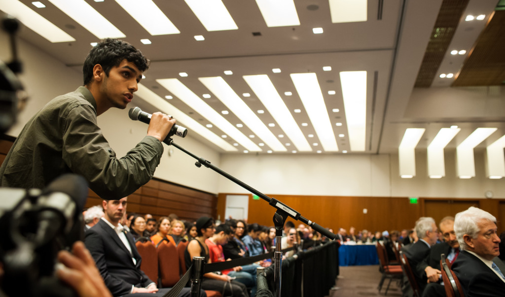Mohsin Mirza, a UCSB third-year sociology major, speaks during the public forum portion of the UC Regents meeting in the University of California, San Francisco Mission Bay campus. Kenneth Song/Daily Nexus