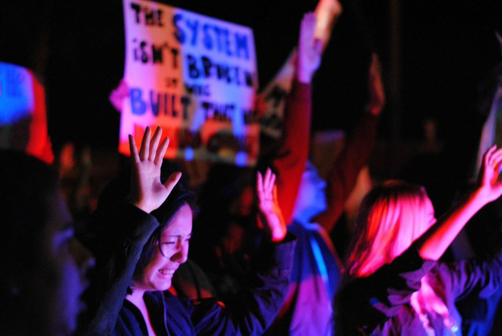 """During the protest, demonstrators chanted phrases such as, """"What do we want? Justice! When do we want it? Now!"""", """"Hands up, don't shoot!"""", """"No justice, no peace! No racist police!"""" and """"Black lives matter!""""  Christina DeMarzo/Daily Nexus"""