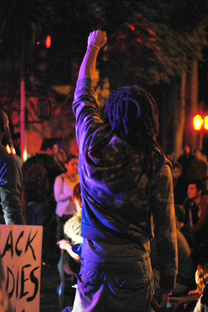 Santa Barbaran protesters, most of whom were students, expressed their discontent with the Ferguson verdict as well as their local support for protests across the nation. Christina DeMarzo/Daily Nexus