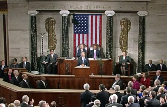 President Barack Obama takes his place in front of Congress for his 2015 State of the Union address as Vice President Joe Biden and Speaker of the House John Boehner. Photo courtesy of the White House