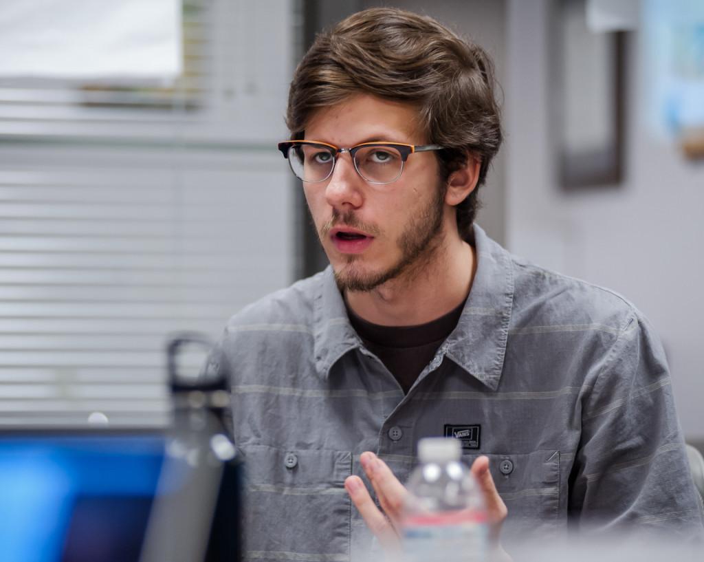 EVPLA Cameron Schunk discusses AB-3 with students. Lorenzo Basilio/Daily Nexus