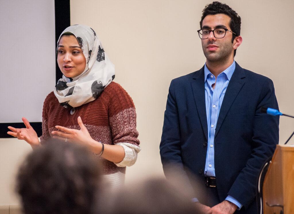 UC Student Regent Sadia Saifuddin and Student Regent-designate Avi Oved explain the application process to an audience. Lorenzo Basilio/Daily Nexus