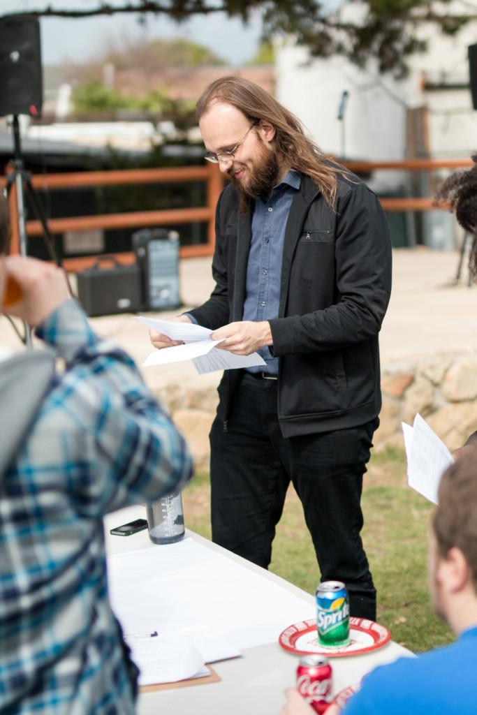 Community members, such as Jay Freeman, above, brainstorm ideas for service funding. Stephen Manga/Daily Nexus