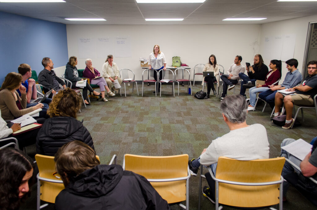 Isla Vista community members met once again in the I.V. Clinic for the weekly shareholder's meeting. Tuesday night's meeting focused on the issue of amending CA AB-3 to include a specific legal plan for I.V. self-governance. Sam Aragon/Daily Nexus