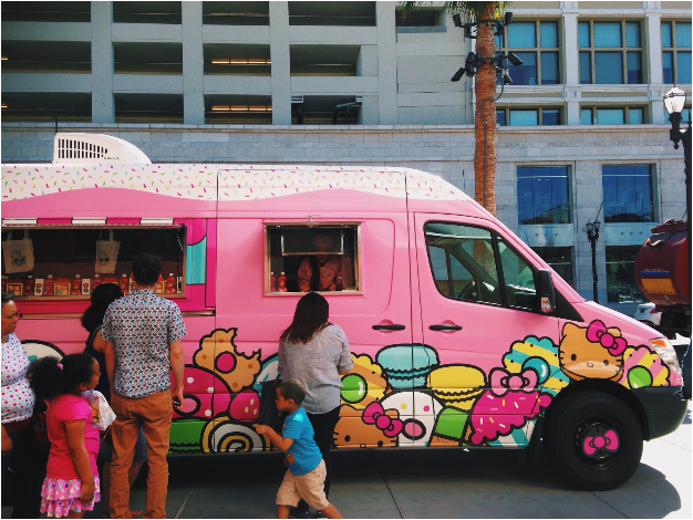 Yes, a Hello Kitty themed food truck actually exists. Photo by Kelsey Tang.