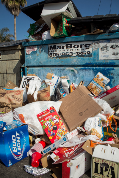Trash bins were full of empty boxes of food and alcoholic drinks. Alex Gonzalez/Daily Nexus