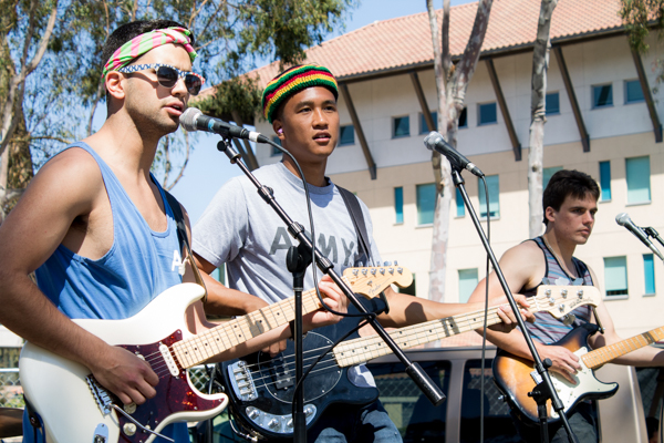 """Local IV Band """"Four Closure"""" performs outside the Thunderdome. Alexander Payne/Daily Nexus"""