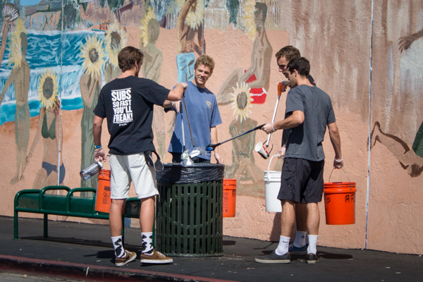Students and community members worked together to remove trash from the streets on Sunday Morning, with the help of Adopt-a-Block. Paris Cullen/Daily Nexus