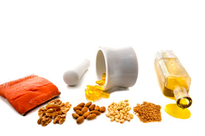 Fish, oils, walnuts, soy products, shrimp, brussel sprouts, fortified eggs and fish oil supplements are good sources of essential omega-3 fatty acids necessary for healthy neurological functions.