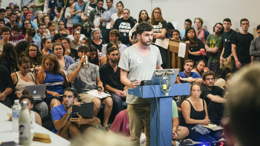 Impassioned students joined the A.S. Senate in the Old Little Theater and Girvetz 1004, making speeches to the senators concerning the Students for Justice in Palestine's recent resolution. Hari Patel/Daily Nexus