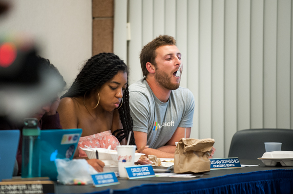 Student senators try to keep themsleves entertained during last night's meeting, during which they discussed monetary issues. Lorenzo Basilio/Daily Nexus