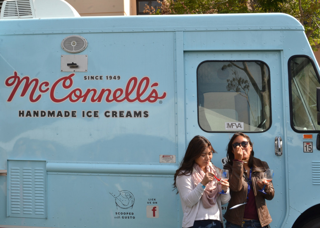 Sponsored by Yardi Systems, a McConnell's truck offered sample sizes of some of their most popular flavors, including Eureka lemon and marionberry, as well as olive oil and salted almond. Allison Wright/ Daily Nexus