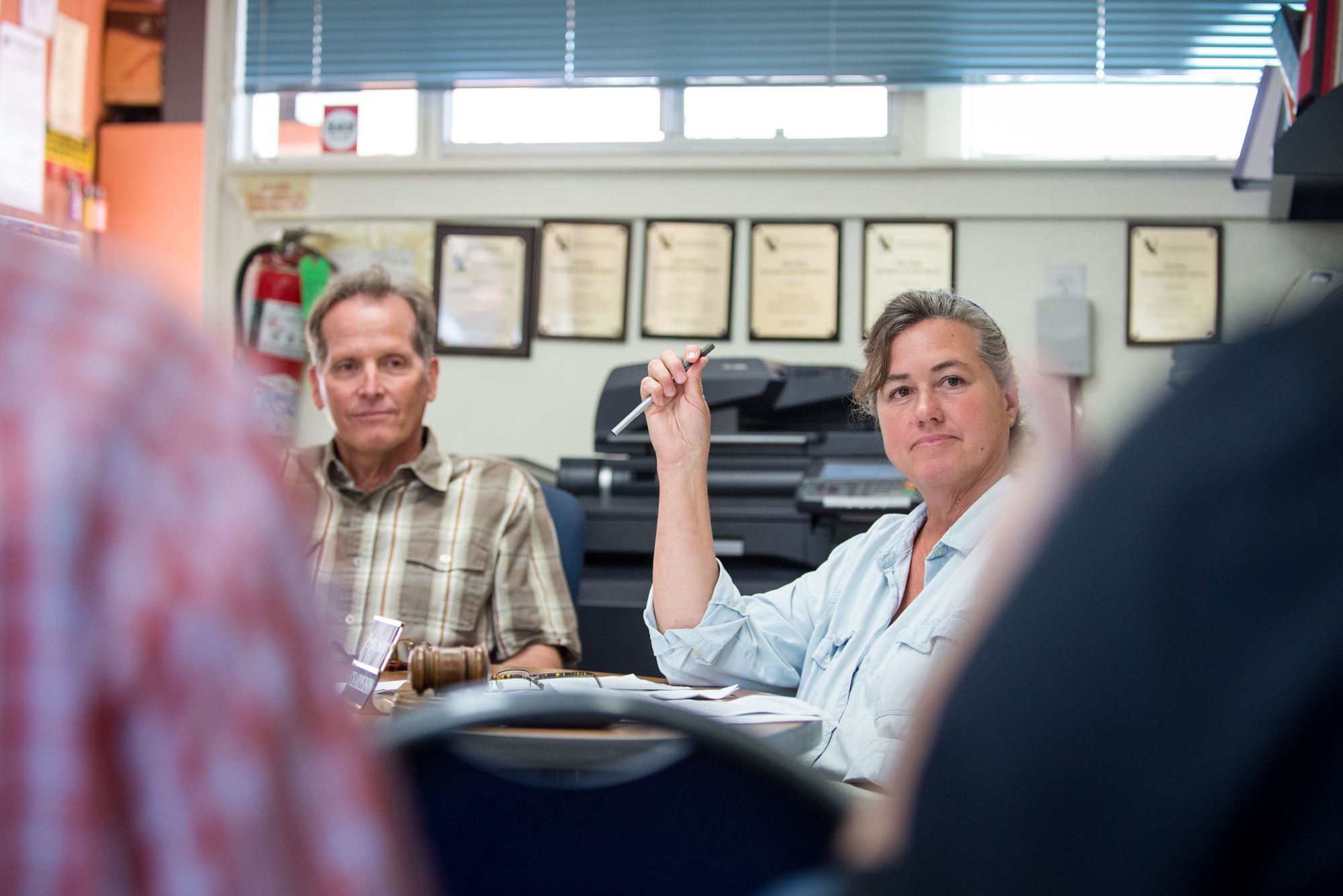 Pegeen Soutar (right) at an Isla Vista Recreation and Park District meeting in July 2015. Nexus File Photo