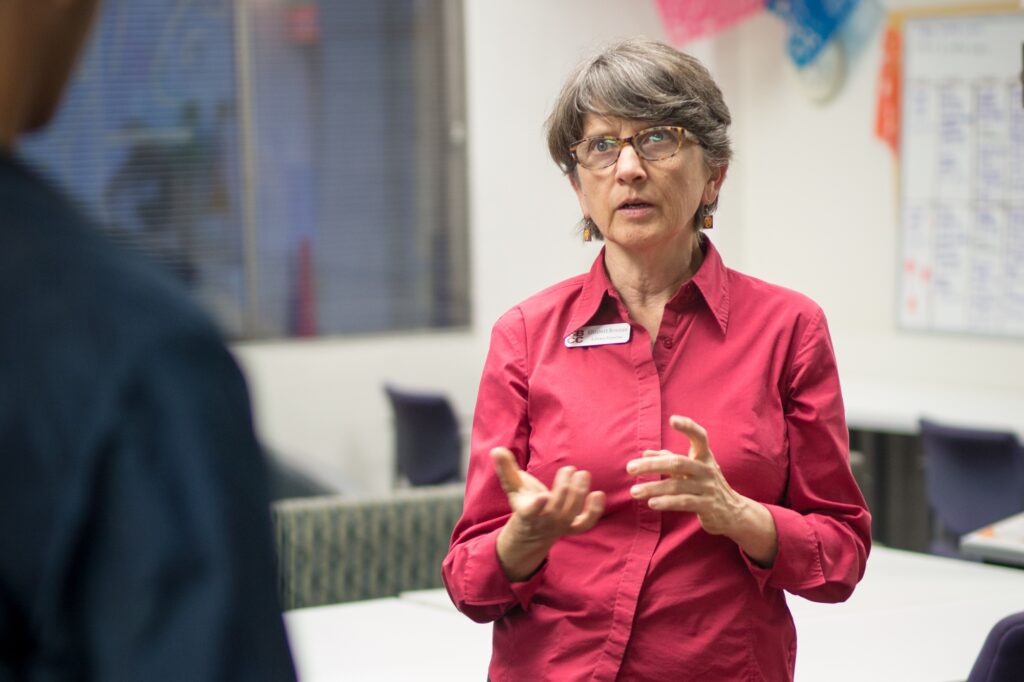 SBCC Library Director Elizabeth Bowman explaining the services offered by SBCC librarians. Stephen Manga / Daily Nexus