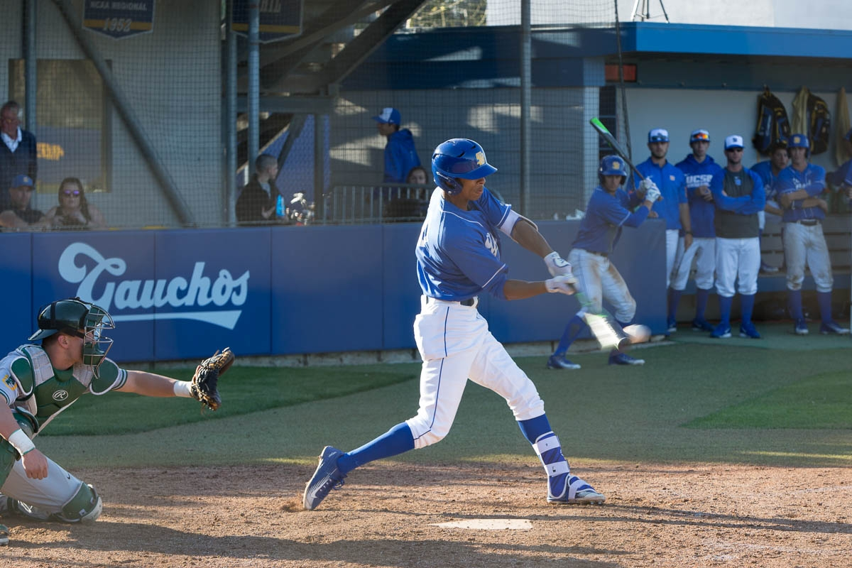 After connecting with the ball, Tevin Mitchell sends it flying into left field. Dustin Harris/Daily Nexus