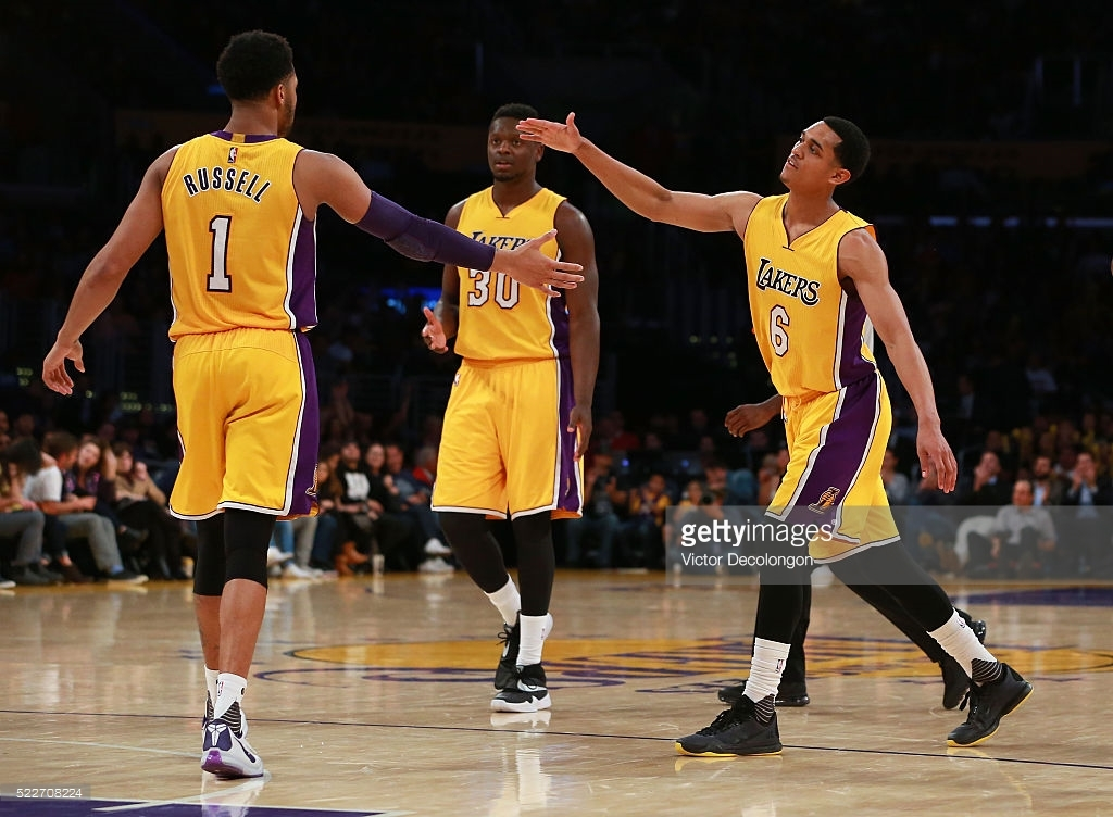 The new Lakers new 'Big Three', Russell (left), Randle (center), and Clarkson (right), will try to bring the team back to relevancy. /courtesy of Getty Images