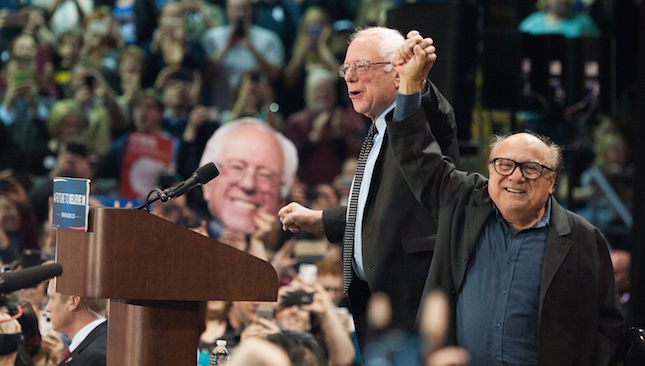 Danny DeVito endorsed Bernie Sanders at a St. Louis rally in March. (Michael B. Thomas / AFP / Getty Images)