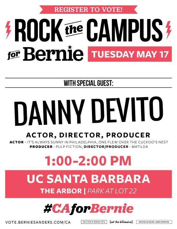 Students will be able to take pictures with DeVito, get his autograph and chat about the Bernie Sanders campaign.