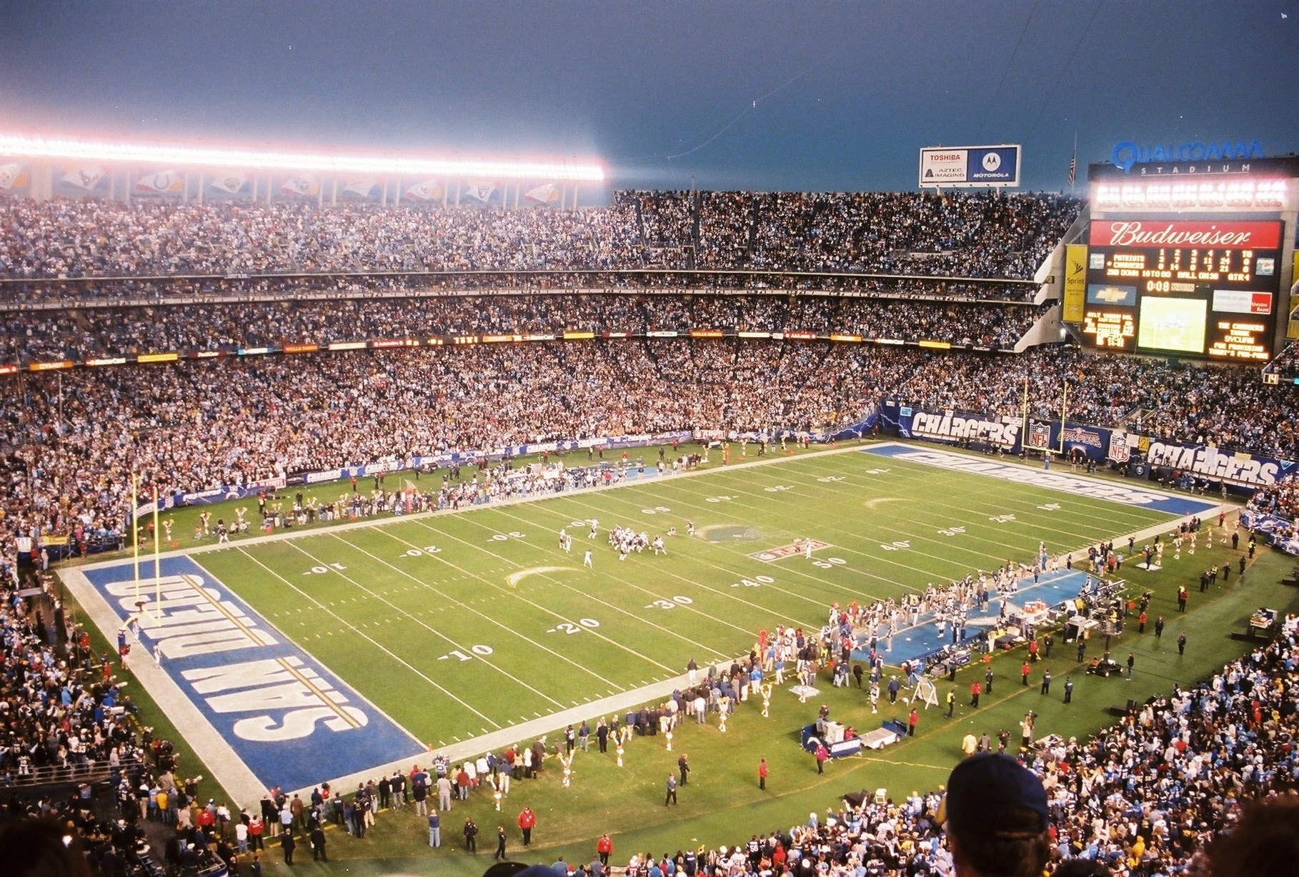 Qualcomm Stadium, home of the San Diego Chargers who have made one Super Bowl appearance in NFL history.