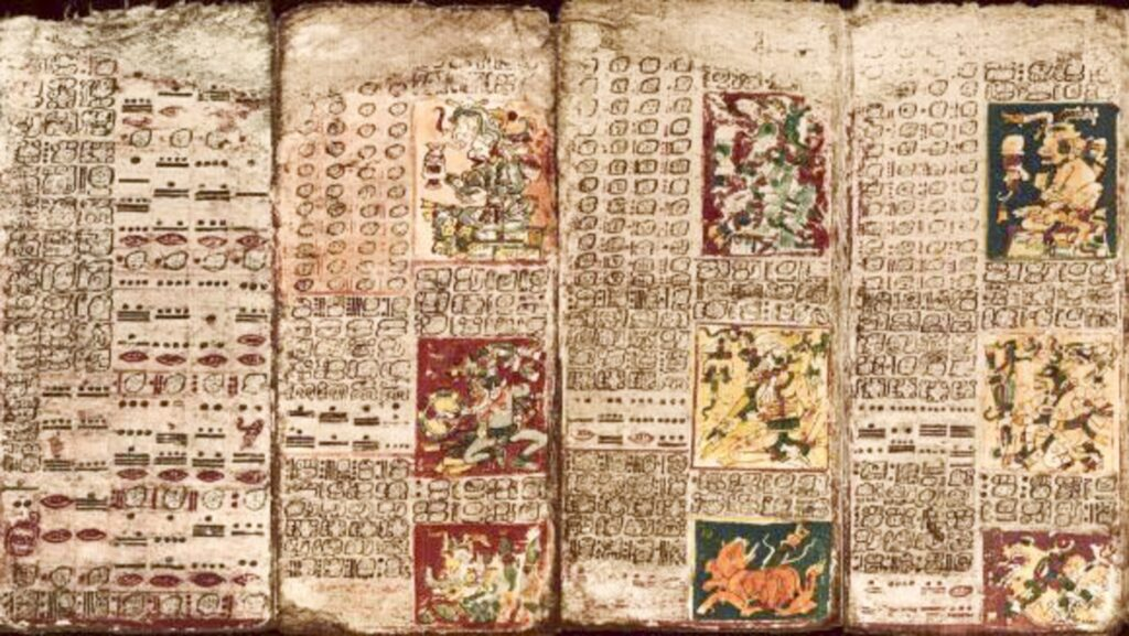 The image above displays the preface of the Venus Table, the leftmost column, along with the first three pages of the table found in The Dresden Codex. Following the preface, the Mayans would add the pictures of gods they would honor. Courtesy of University of California, Santa Barbara