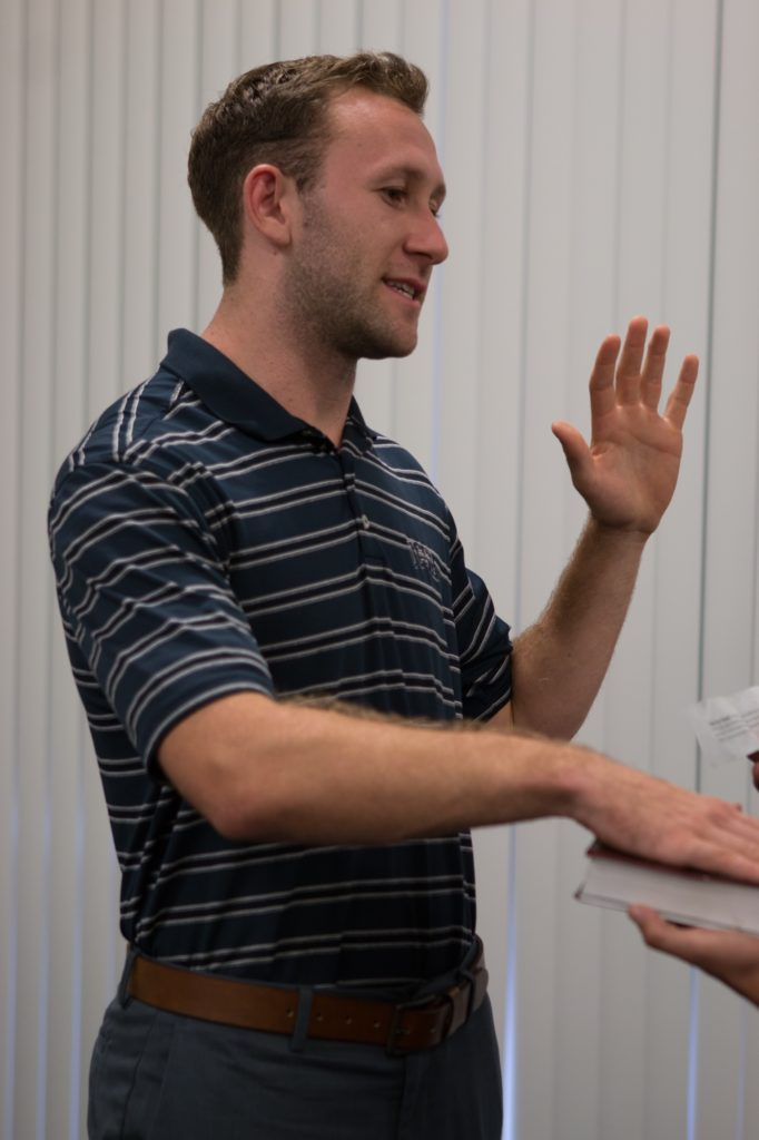 Austin Hechler is sworn in as the new A.S. President. Stephen Manga / Daily Nexus
