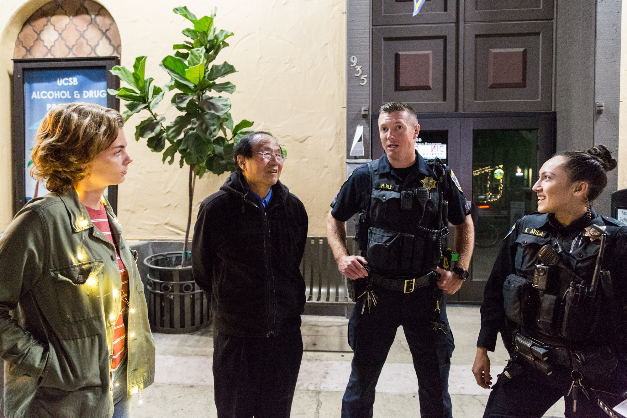 Daily Nexus EIC Megan Mineiro and Chancellor Yang stop and talk with some UCPD officers on patrol. Officer Bly reminiced about his time as a student in Isla Vista. Dustin Harris / Daily Nexus
