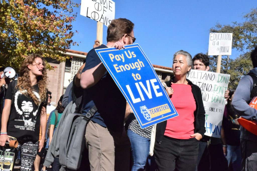 Students, union workers and faculty members joined the protests against increasing tuition rates. Yuki Copnall / Daily Nexus